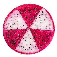 concept radioactive of slice red and white dragon fruit, Pitaya