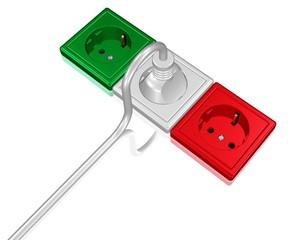 drei Steckdosen in den Farben der italienischen Flagge