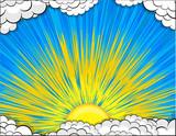 Sunburst Clouds Background