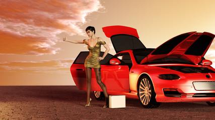 Geschäftsfrau mit Autopanne