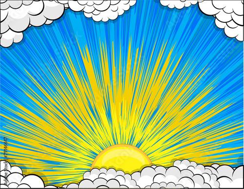 Sunburst Clouds Background - 79146647