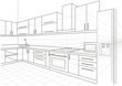 linear sketch interior kitchen - 79146815
