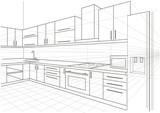 linear sketch interior kitchen