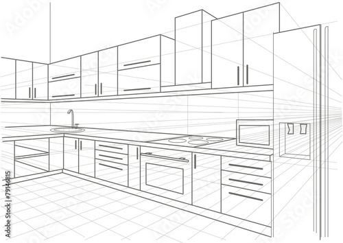 linear sketch interior kitchen - 79146815