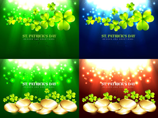 set of saint patrick's day background illustration