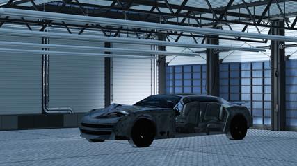 Unfallfahrzeug in der Werkstatt