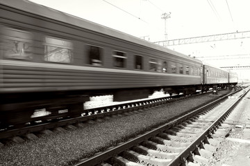 Passenger train passing on speed,