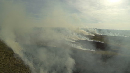 Flight through  fire smoke in  steppe. Aerial shot