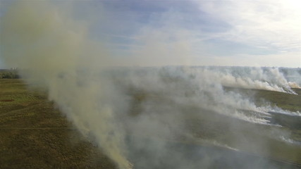 fire smoke in  steppe. Aerial shot panorama