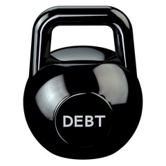 Finance concept: Black kettlebell with word debt