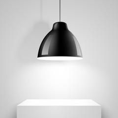 Black ceiling lamp. Vector