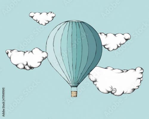 Heißluftballon zwischen Wolken - 79149841