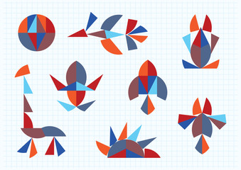figures of animals and birds Tangram