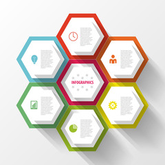 Colorful infographic with honeycomb structure. Vector