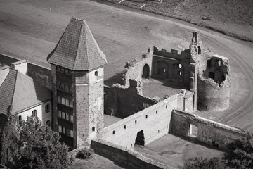 Medieval castle in Poland. Black and white.