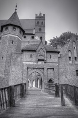 Malbork Castle. Black and white.