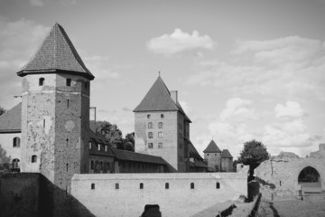 Malbork, Poland. Black and white.