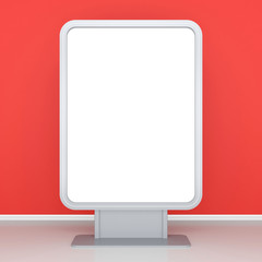 Blank roll up poster - vertical billboard for text on red wall