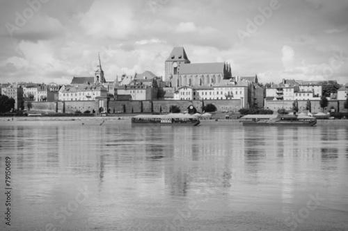 Fototapeta Torun, Poland. Black and white.