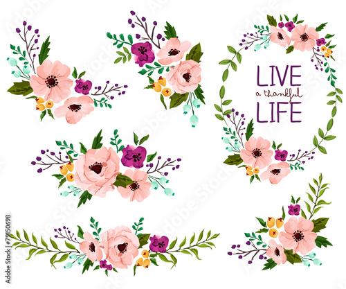 flower vector set poster