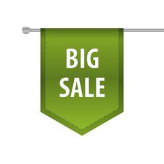 Big sale vertical ribbon bookmark tag. Vector illustration