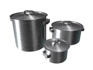 Illustratie van drie RVS pannen