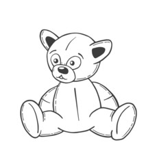 Hand drawn teddy bear in black vector