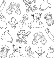 Baby themed pattern in black vector