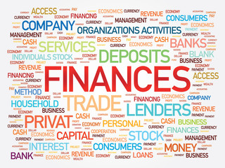 Finances word cloud, business concept