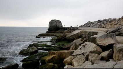Rock stack coast of Portland Bill Dorset England UK