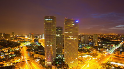 Tel Aviv Skyline-  From Night To Day Time Lapse