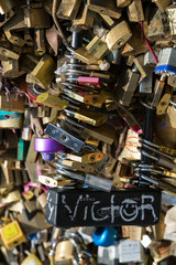 Paris - Pont de l'Archevechecovered with love padlocks.