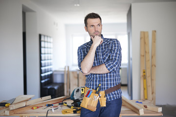 Real carpenter in his work