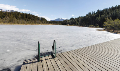 Frozen Lake Leech Winter Panorama