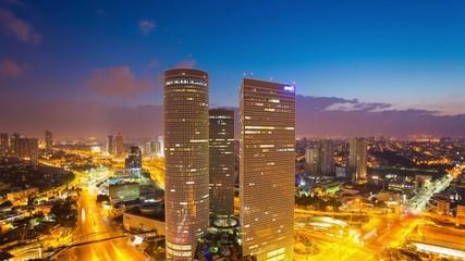 Tel Aviv Skyline-  From Night To Day Time Lapse - Tilt Down