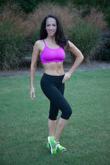 woman outdoors exercising