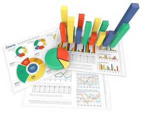Analyze.Colorful infographics with 3D graphs and charts.