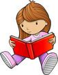 Girl Reading Book Sketch Vector Illustration Art