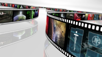 Animated loop-able rotating film reels