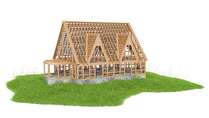illustration of grass with new house under construction