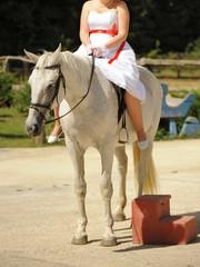 Bride Sitting on Horse