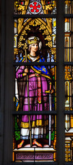 Stained glass of Louis IX of France in Brussels Cathedral