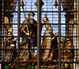 Stained glass of Charles V in Brussels Cathedral