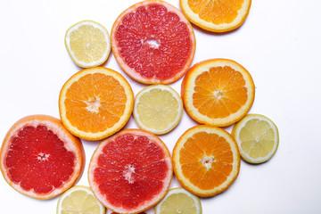 Lemon, grapefruit and orange