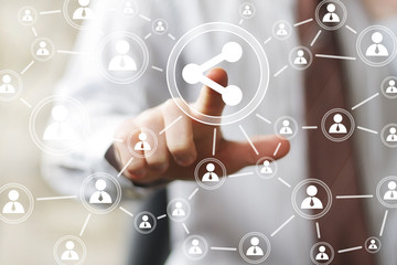 Business button share connection web