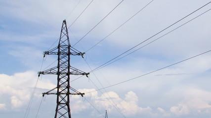 Electric Pylon On Cloudy Sky Background