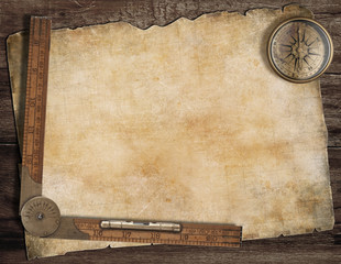 Old treasure map background with compass and ruler. Exploration