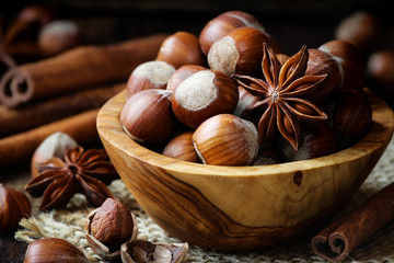 Hazelnuts with star anise and cinnamon sticks