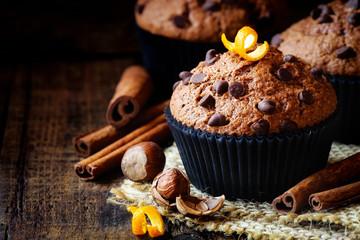 Homemade Orange Chocolate chip and cinnamon muffin