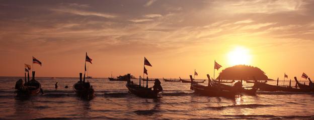 boat sunset thailand beach landscape